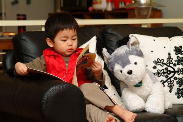 賢賢喜歡看書。2007.11.02