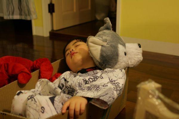 賢賢已經累到直接睡在他的車子裡面。20071217